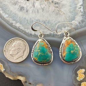 Vintage turquoise dangle earrings, Native American